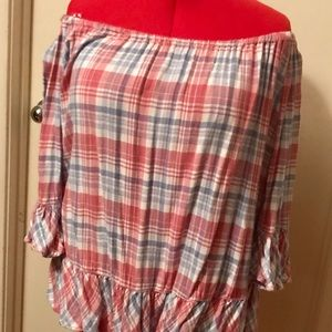 Beach Lunch Lounge Plaid Off-Shoulder Tunic